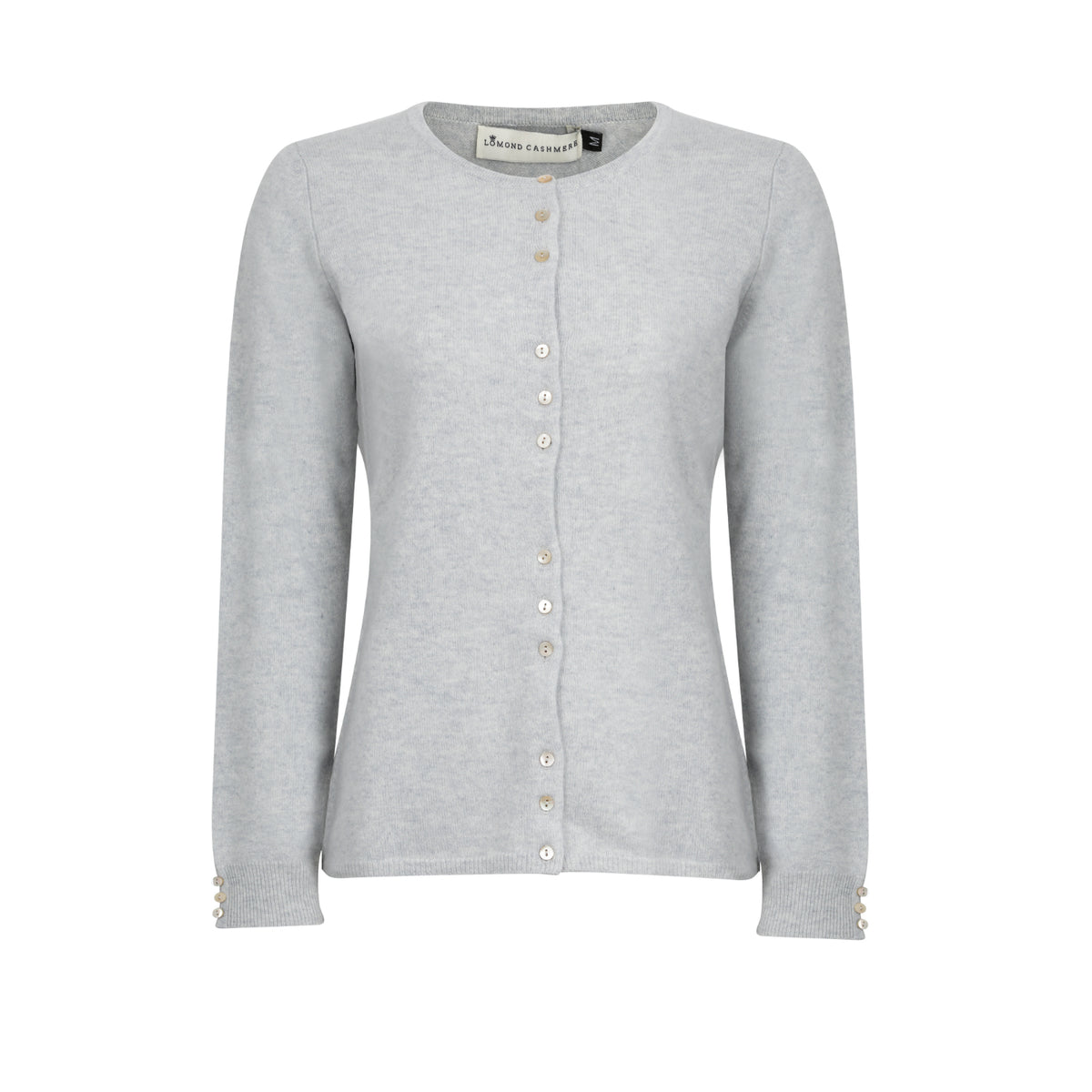 Ladies Fitted Round Neck Cashmere Cardigan | Grey | Shop at The Cashmere Choice | London