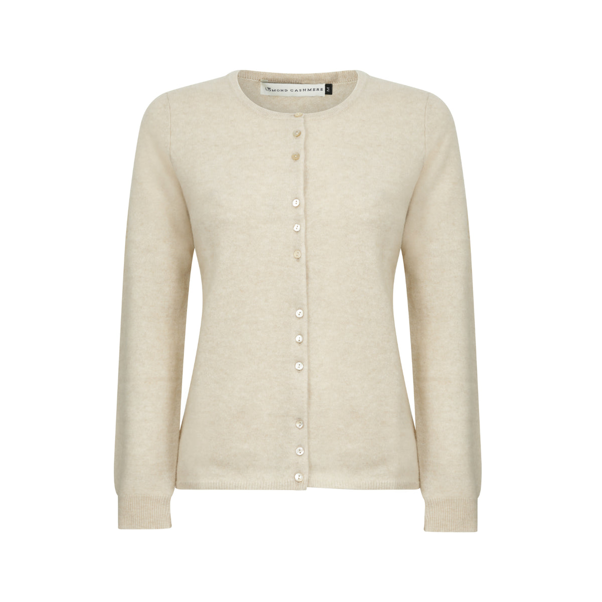 Ladies Fitted Round Neck Cashmere Cardigan | Beige | Shop at The Cashmere Choice | London