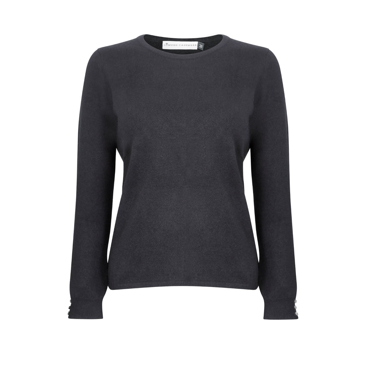 Lomond Cashmere | Ladies 2-Ply Cashmere Round Neck | Black | Shop now at The Cashmere Choice | London