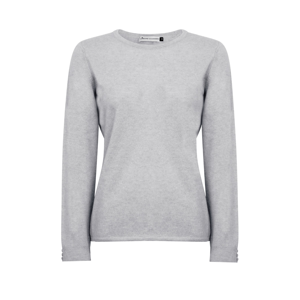 Lomond Cashmere | Ladies 2-Ply Cashmere Round Neck | Light Grey | Shop now at The Cashmere Choice | London