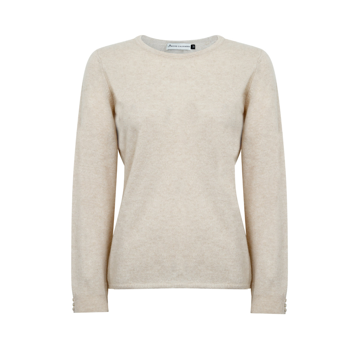 Lomond Cashmere | Ladies 2-Ply Cashmere Round Neck | Beige Organic Brown | Shop now at The Cashmere Choice | London