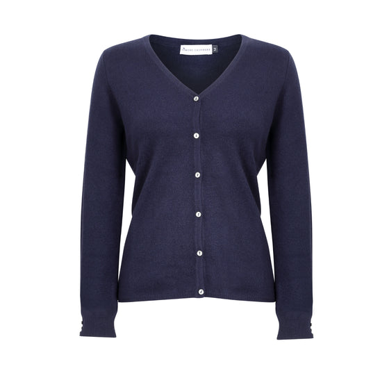 Ladies Fitted V Neck Cashmere Cardigan | Navy Blue | Shop at The Cashmere Choice | London