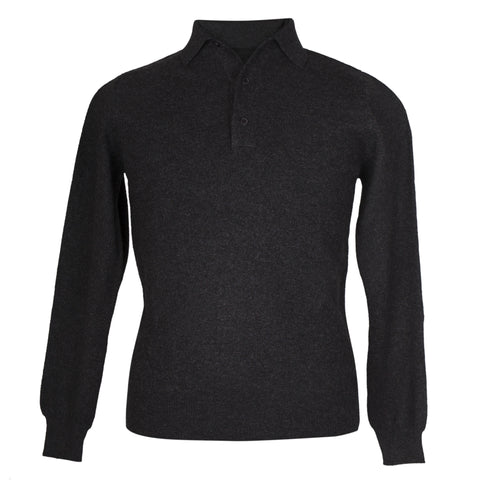 Mens Charcoal Grey Cashmere Sweater | Jumper | Polo Shirt | buy now at The Cashmere Choice London