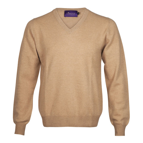 Camel Beige Mens Cashmere V neck Sweater | Jumper | buy now at The Cashmere Choice London