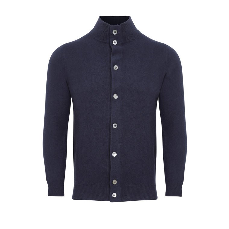 Mens Cashmere Jacket Cardigan | Navy Blue | Shop at The Cashmere Choice | London
