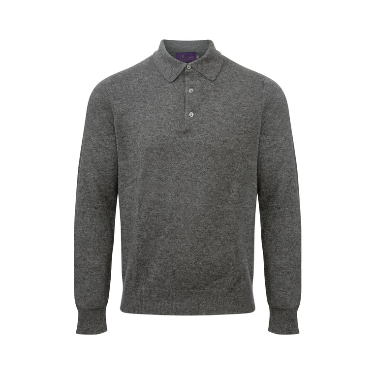 Lomond Cashmere | Mens 2-Ply Cashmere polo Shirt Sweater | Derby Grey | Shop now at The Cashmere Choice | London