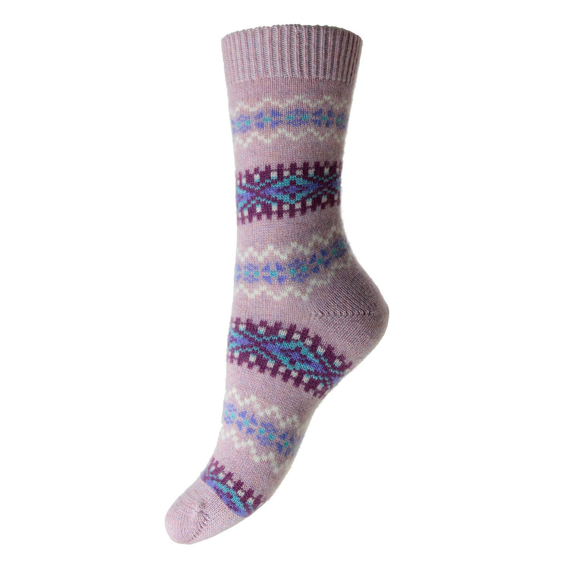 Pantherella Ladies Fairisle Cashmere Socks | Pink | Cashmere Ankle Sock | shop now at The Cashmere Choice London
