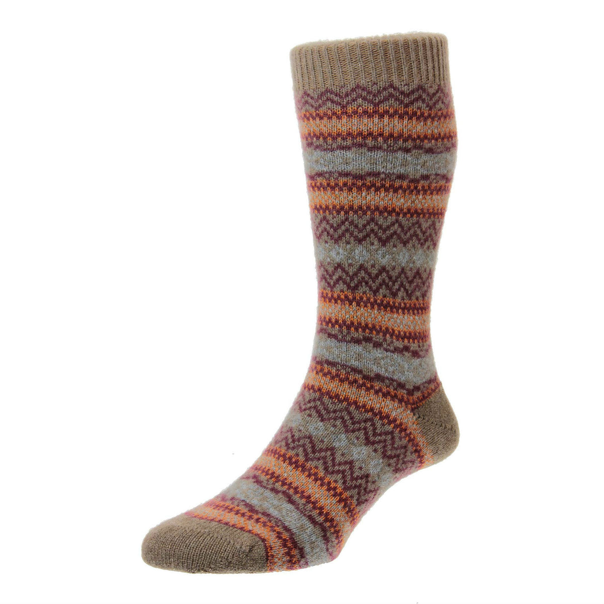 Mink Brown | Mens Cashmere Socks | Made in England | Fairisle Sock | buy now at The Cashmere Choice London