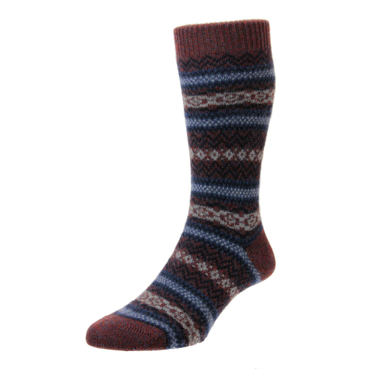 Rust Brown | Mens Cashmere Socks | Made in England | Fairisle Sock | buy now at The Cashmere Choice London