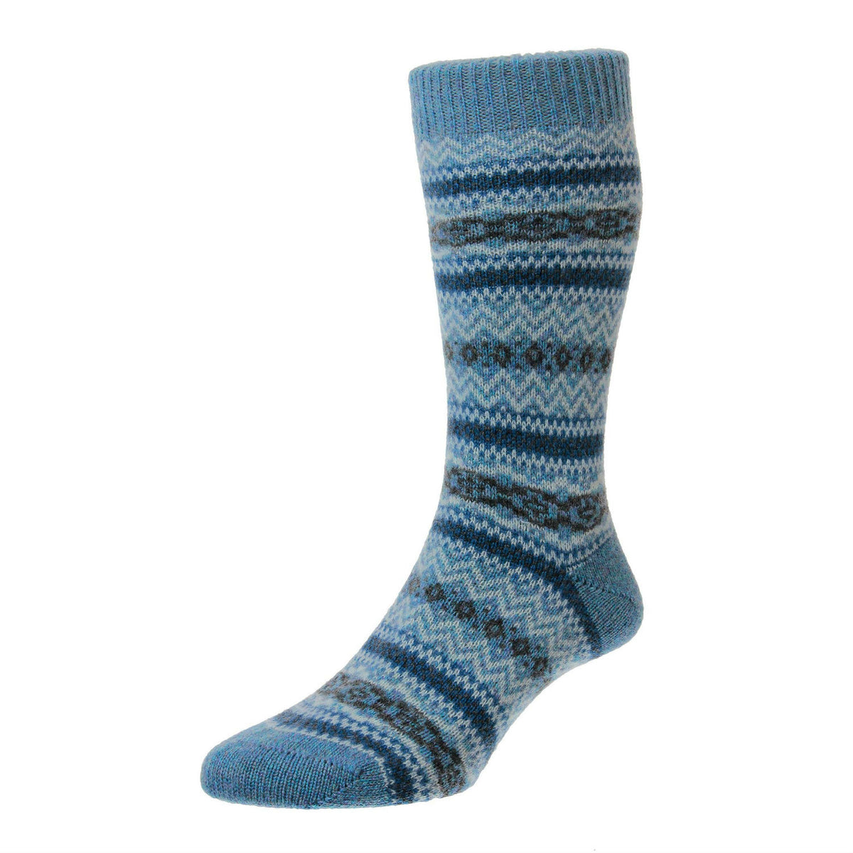 Loch Marl Blue | Mens Cashmere Socks | Made in England | Fairisle Sock | buy now at The Cashmere Choice London