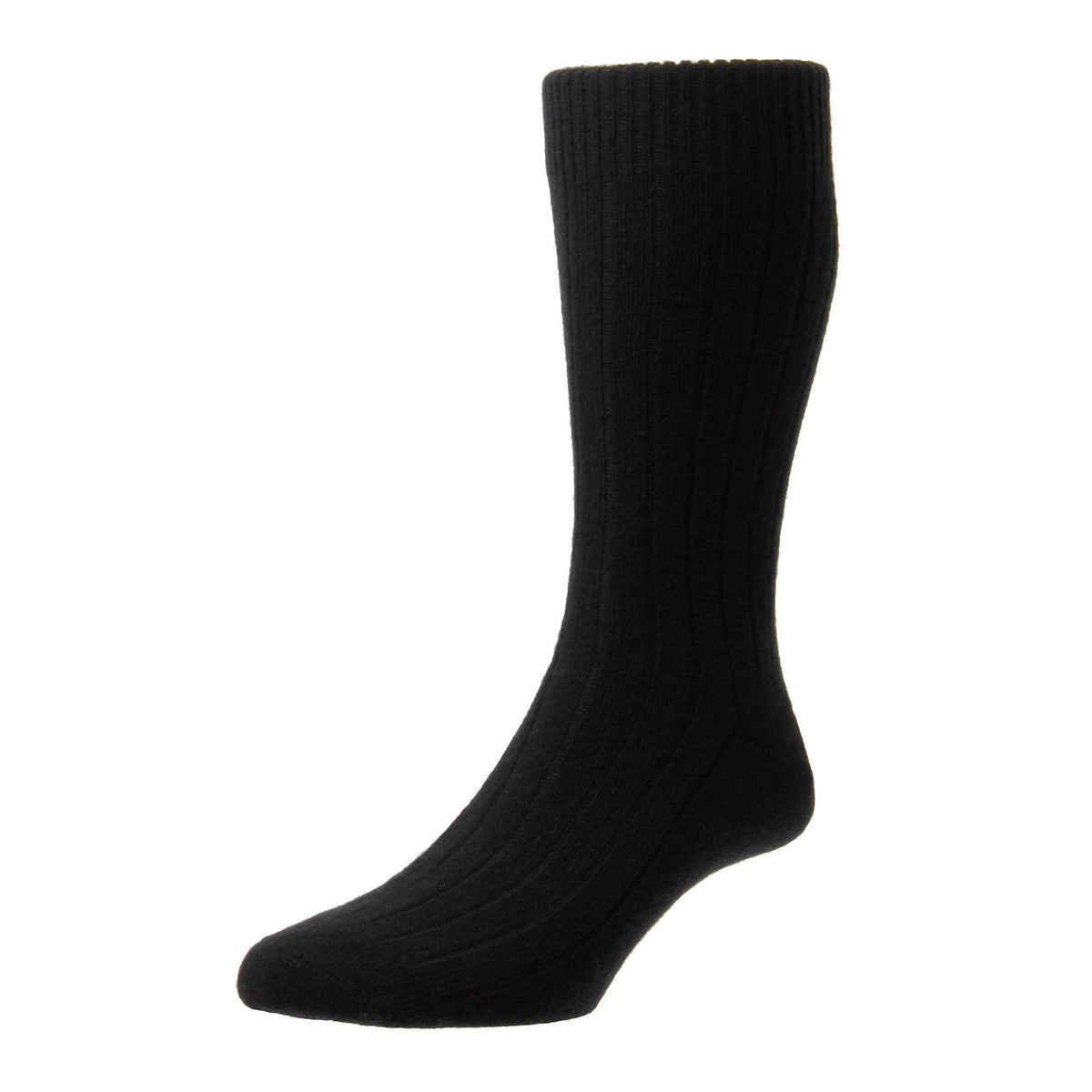 Black | Mens Cashmere Socks | Made in England | Calf Length Sock | buy now at The Cashmere Choice London