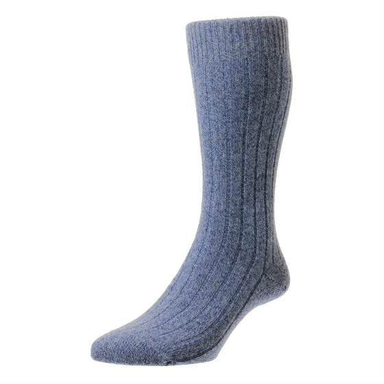 Denim Blue | Mens Cashmere Socks | Made in England | Calf Length Sock | buy now at The Cashmere Choice London