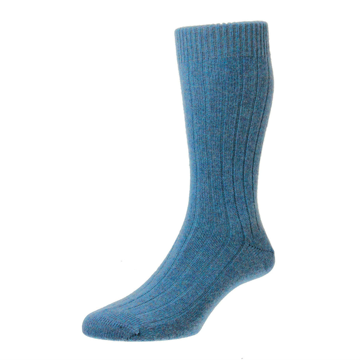 Bright Blue Loch Marl | Mens Cashmere Socks | Made in England | Calf Length Sock | buy now at The Cashmere Choice London