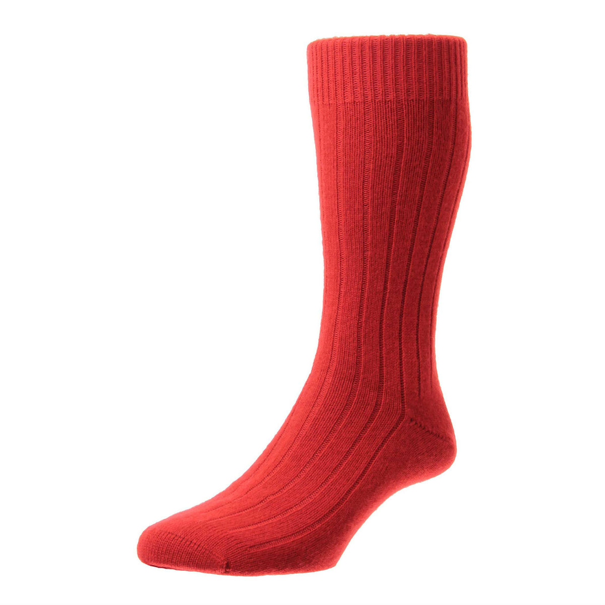 Red  | Mens Cashmere Socks | Made in England | Calf Length Sock | buy now at The Cashmere Choice London