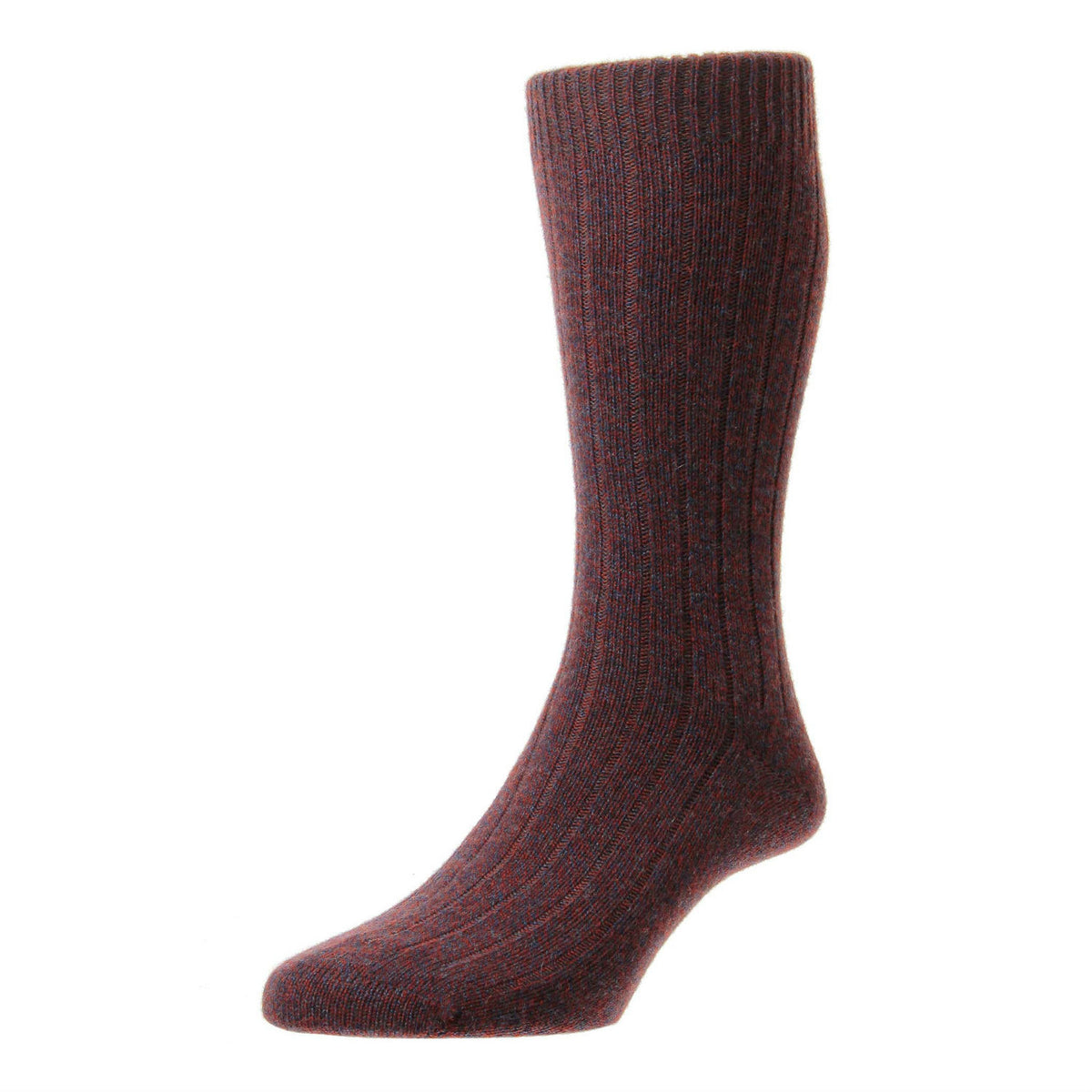 Rust Brown Denim | Mens Cashmere Socks | Made in England | Calf Length Sock | buy now at The Cashmere Choice London