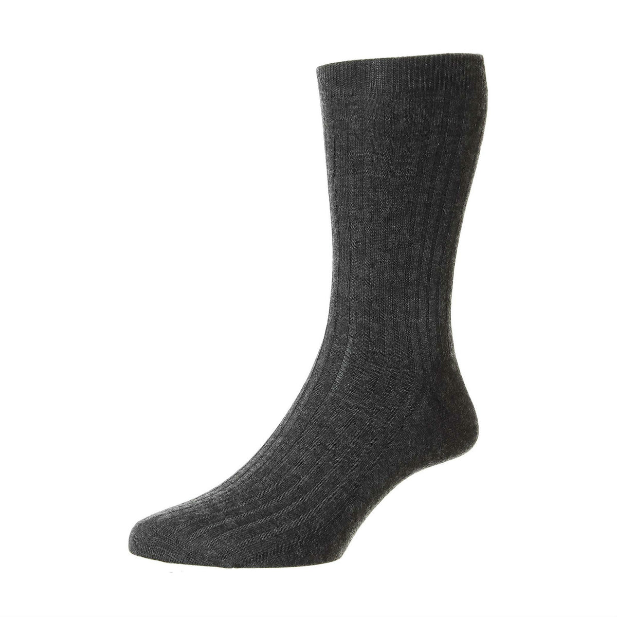 Mens Grey Pure Cashmere Socks | Made in England | Calf Length Sock | shop at The Cashmere Choice London