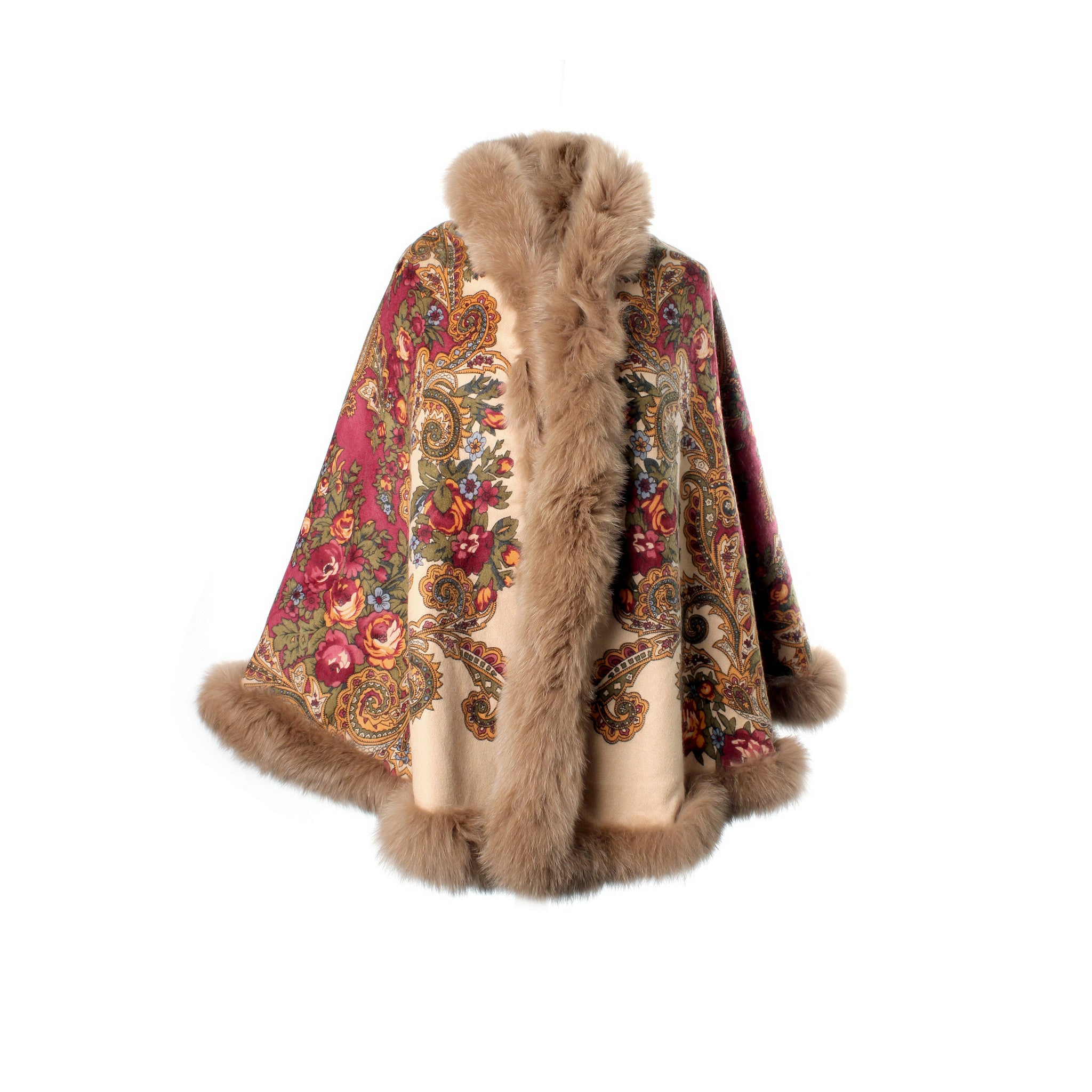 Luxury Reversible Cashmere Cape with fur trim | Beige Side A | buy at The Cashmere Choice | London