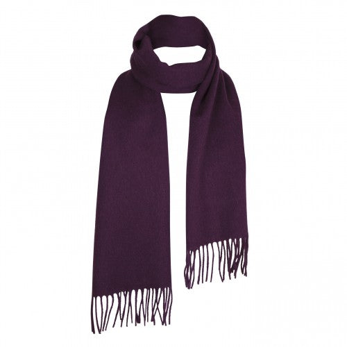 Aubergine Purple Lambswool Scarf | buy at The Cashmere Choice | London