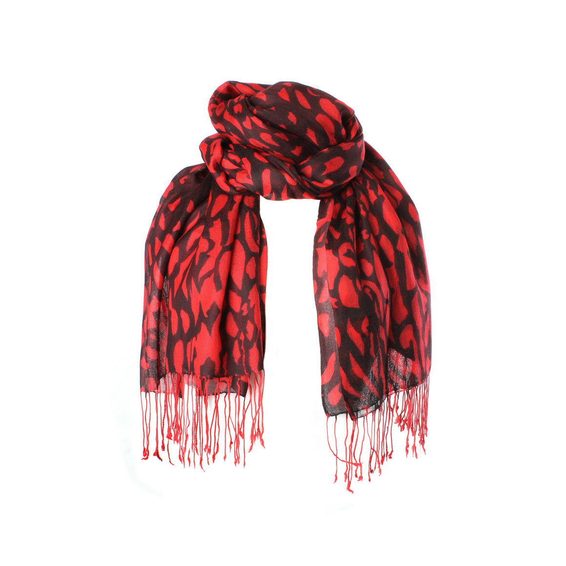 Lightweight Cashmere Stole | Large Cashmere Scarf | Black Red Leopard Print | buy now at The Cashmere Choice London
