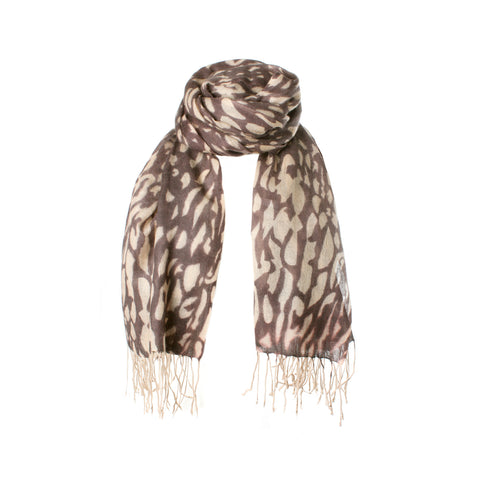 Lightweight Cashmere Stole | Large Cashmere Scarf | Brown Beige Leopard Print | buy now at The Cashmere Choice London