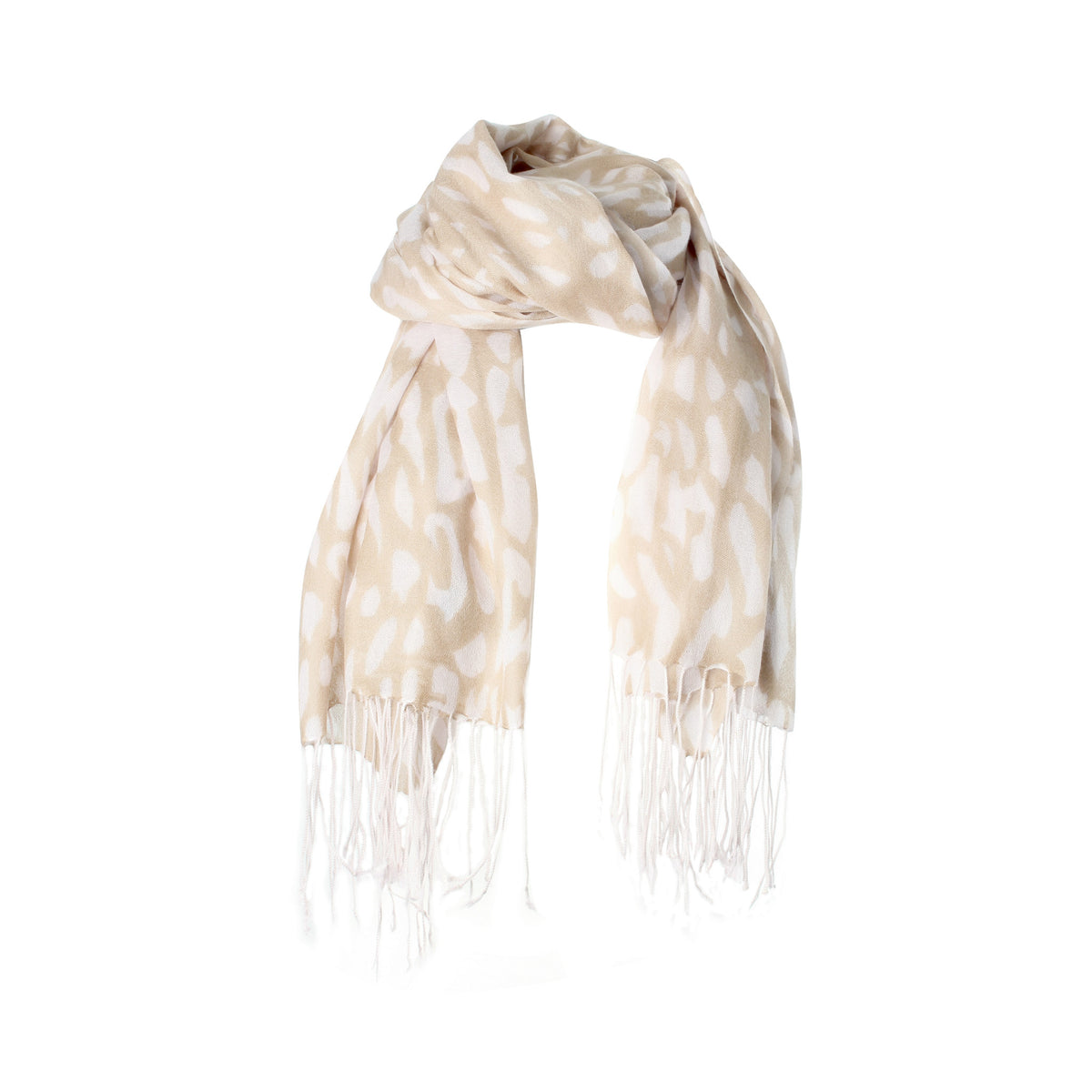 Lightweight Cashmere Stole | Large Cashmere Scarf | Champagne Pink Leopard Print | buy now at The Cashmere Choice London