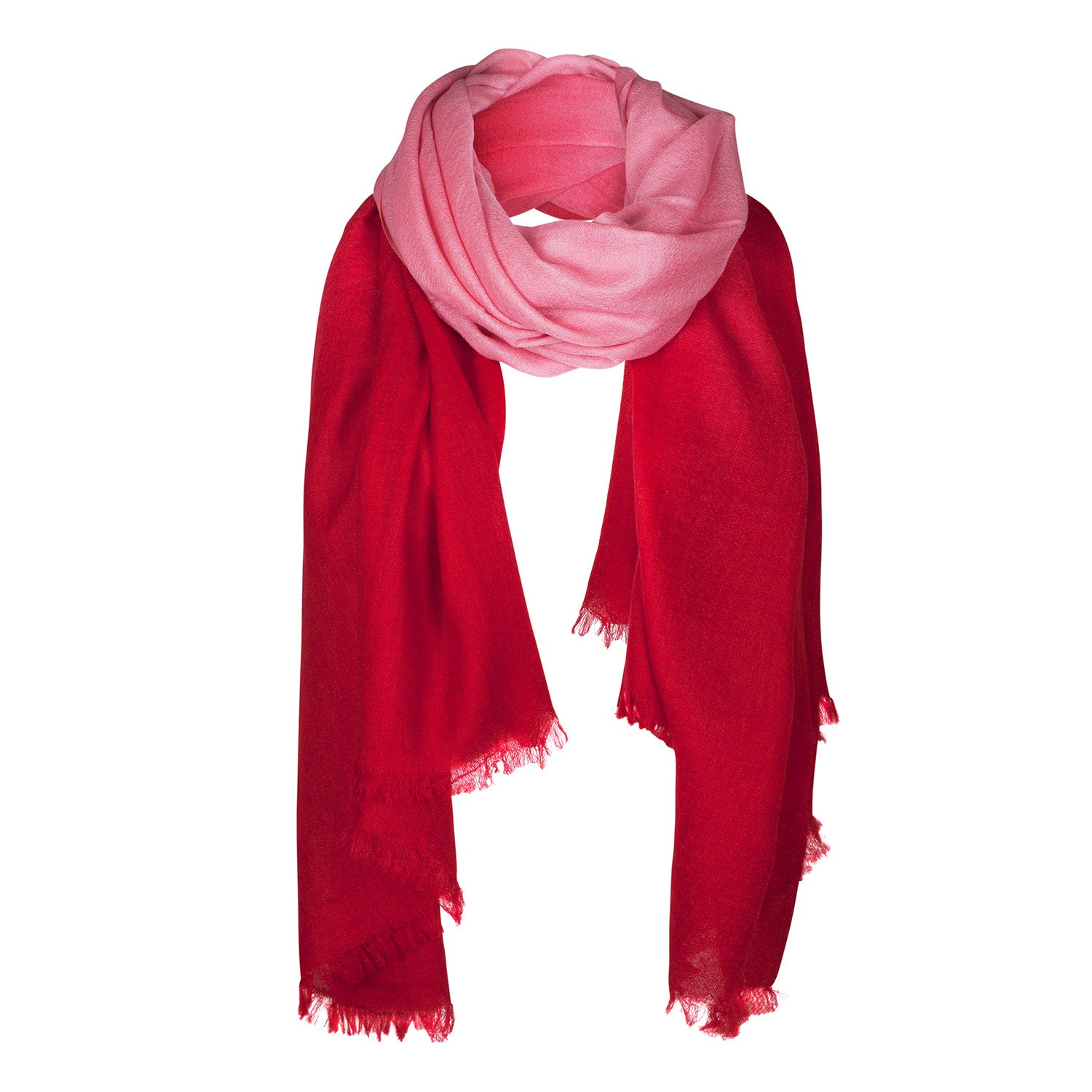 Red Pink Shaded Light Cashmere Stole | buy now at The Cashmere Choice London