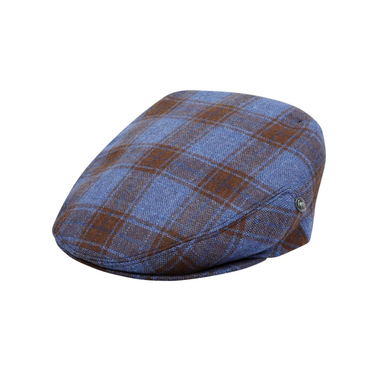 The Cashmere Choice - City Sport - Comfort Fit - Wool Cashmere Flat Cap - Blue Tartan Check 3483