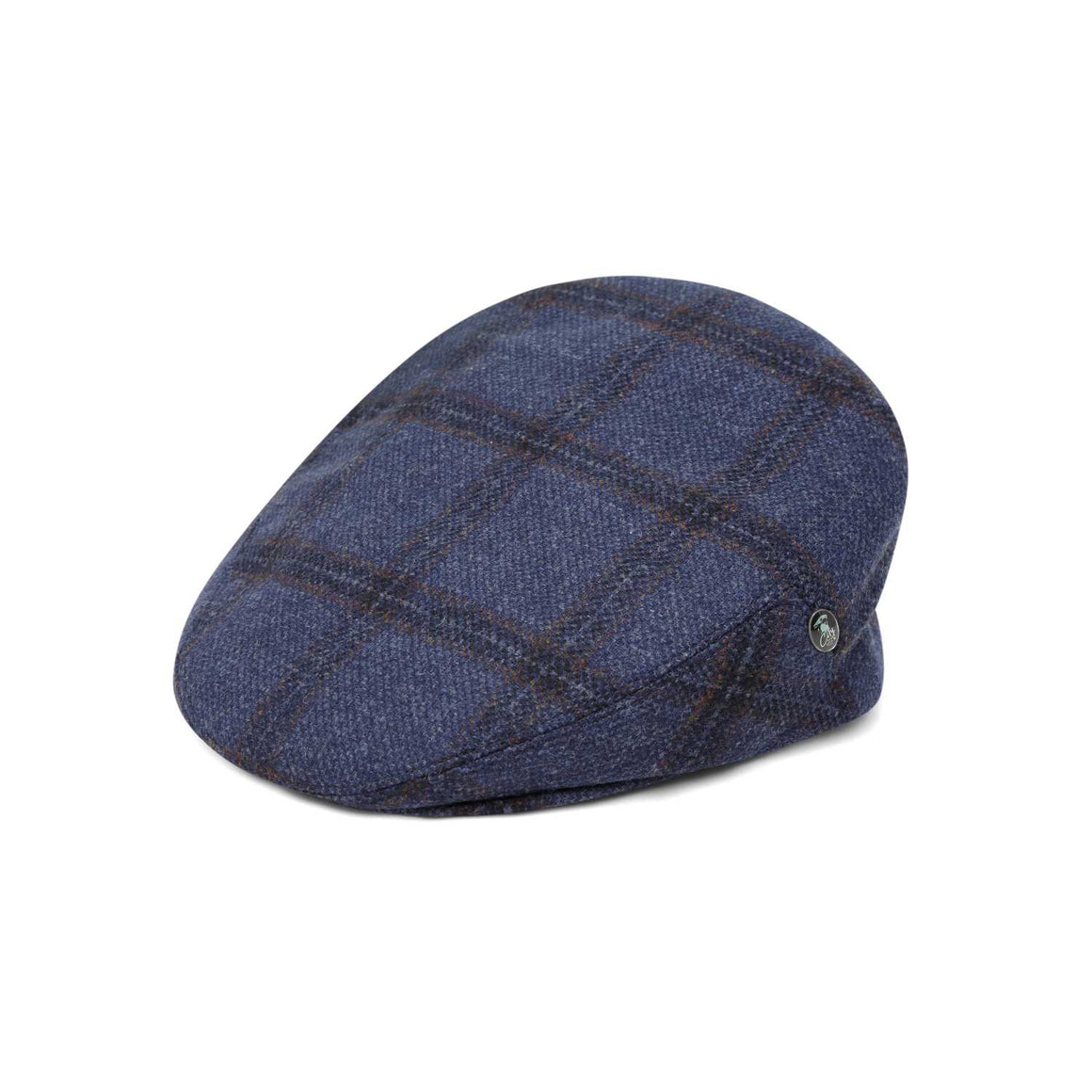 The Cashmere Choice - City Sport - Cool Comfort - Wool Flat Cap - Blue Windowpane 3401
