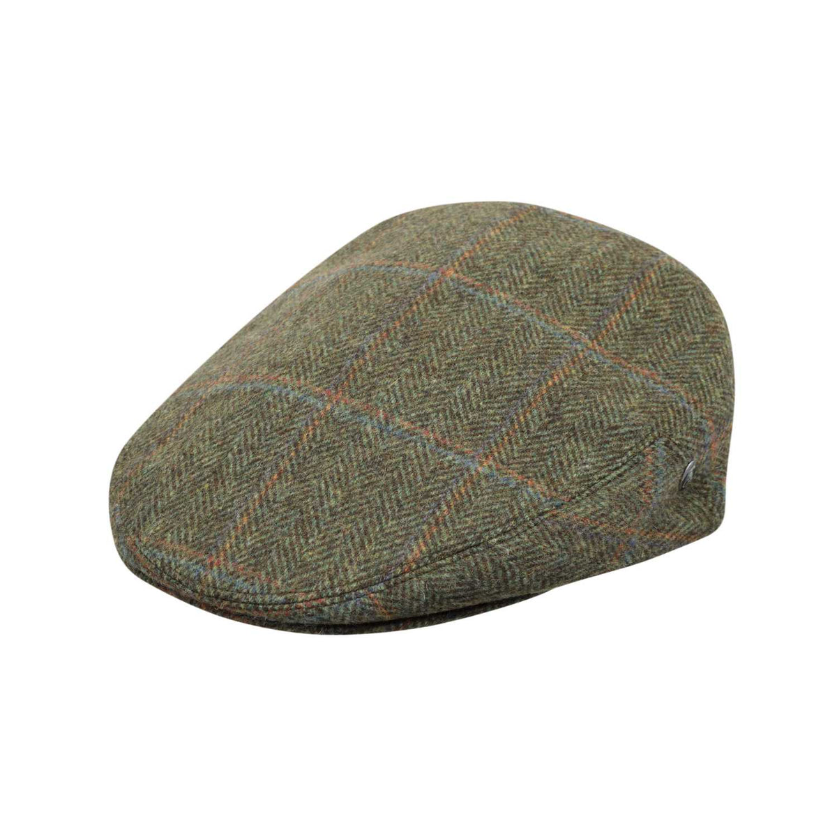 The Cashmere Choice - City Sport - Cool Comfort - Wool Flat Cap - Green Herrningbone 3402
