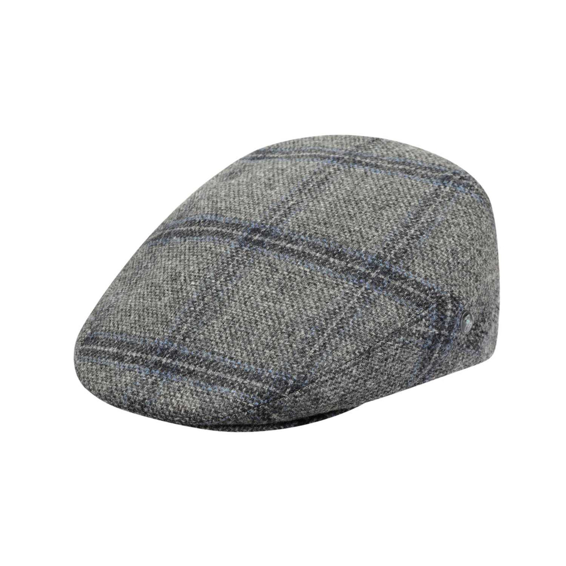 The Cashmere Choice - City Sport - Cool Comfort - Wool Flat Cap - Grey Windowpane Overcheck 3403