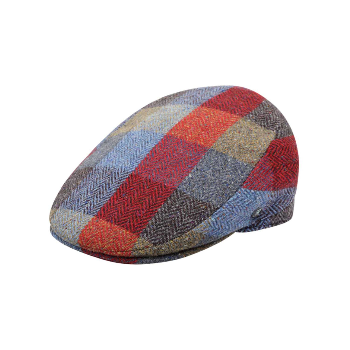 The Cashmere Choice - City Sport - Extended Peak - Donegal Tweed Flat Cap - Red Blue Grey Herringbone 3463