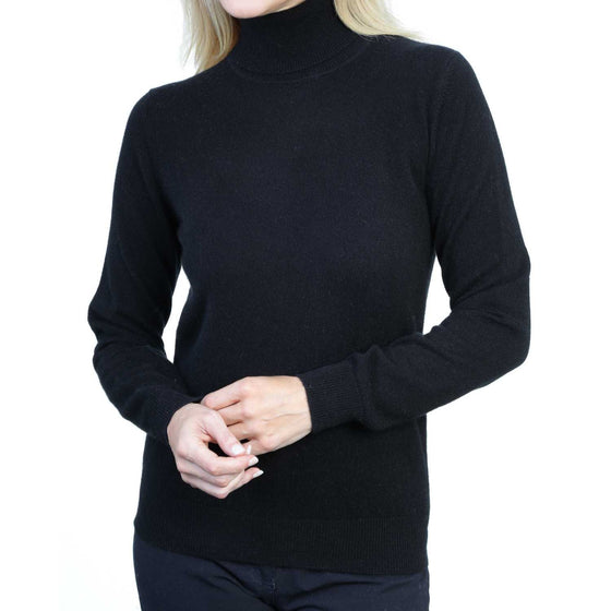 Ladies Black Cashmere Polo Neck Sweater | Front | Shop at The Cashmere Choice | London