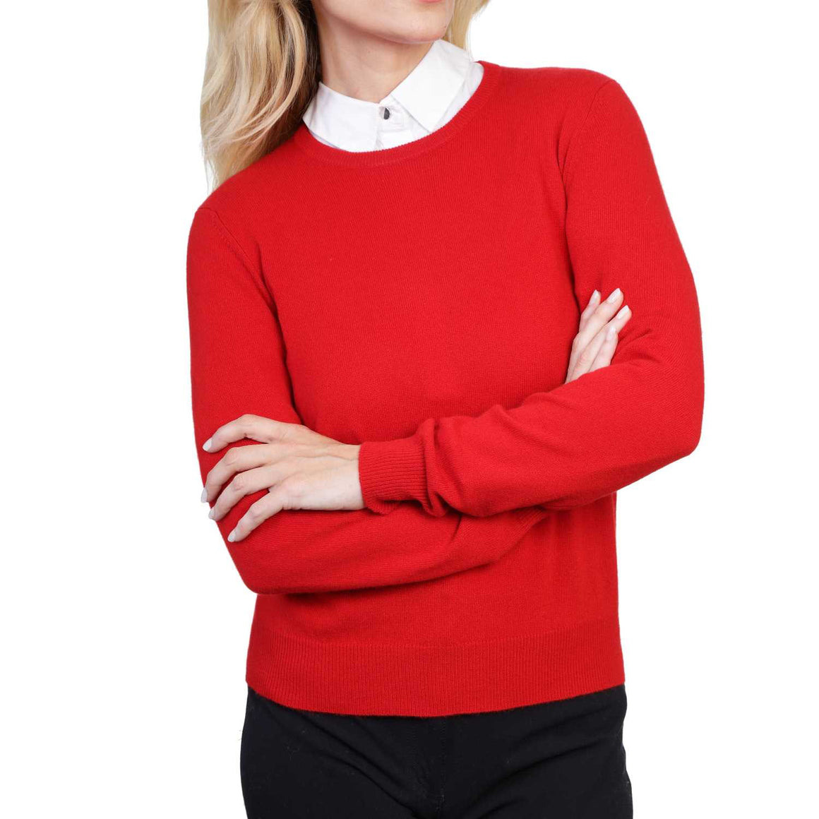Ladies Red Cashmere Round Neck Sweater | Front | Shop at The Cashmere Choice | London