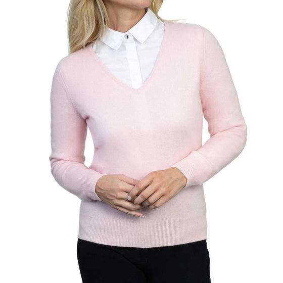 Ladies Pink Cashmere V Neck Sweater | Front | Shop at The Cashmere Choice | London