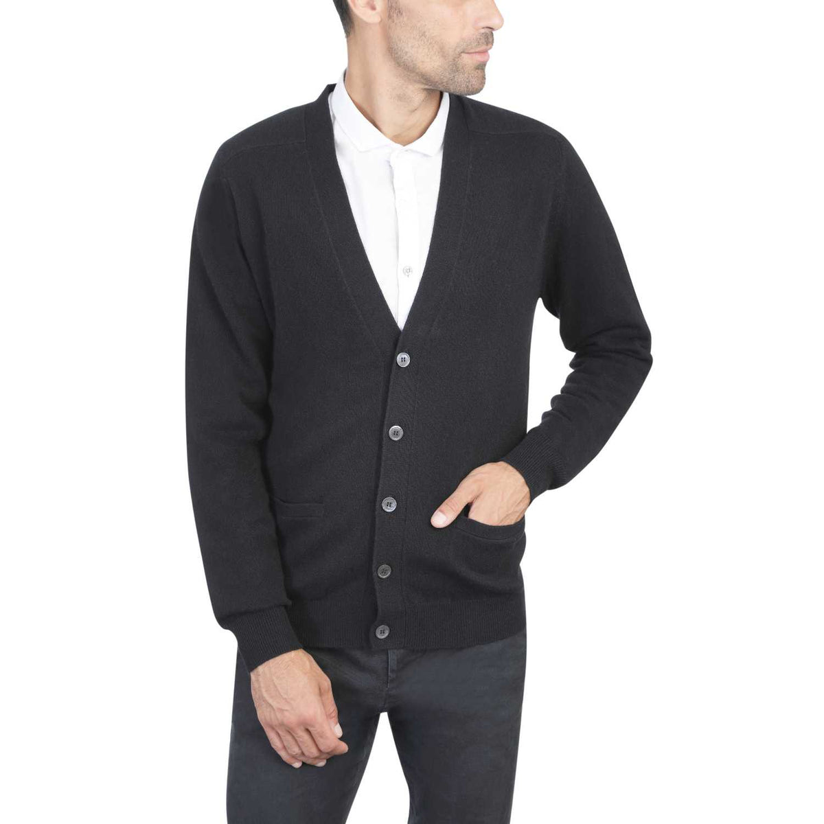 Mens Black Cashmere Cardigan | Front | Shop at The Cashmere Choice | London