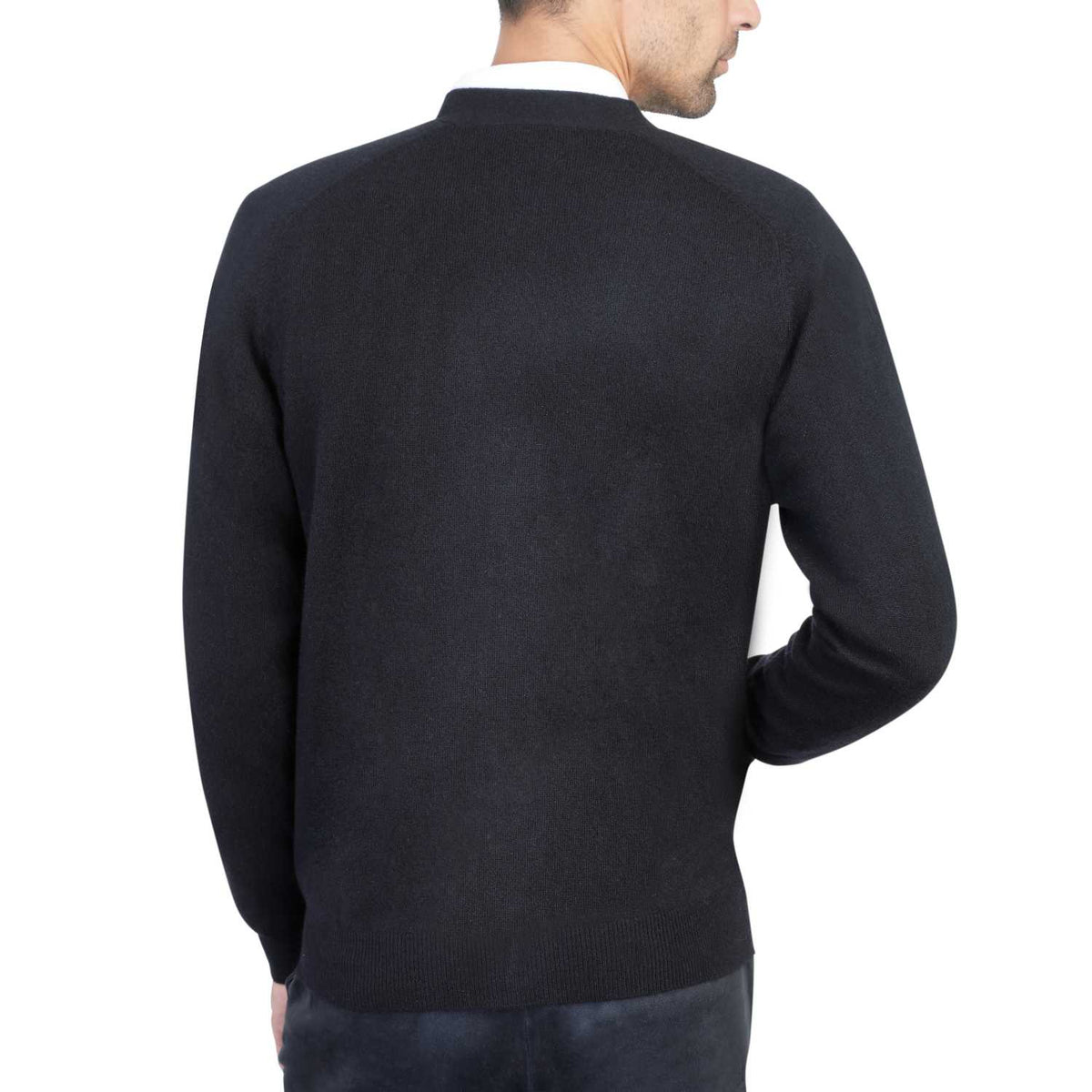 Mens Black Cashmere Cardigan | Back | Shop at The Cashmere Choice | London