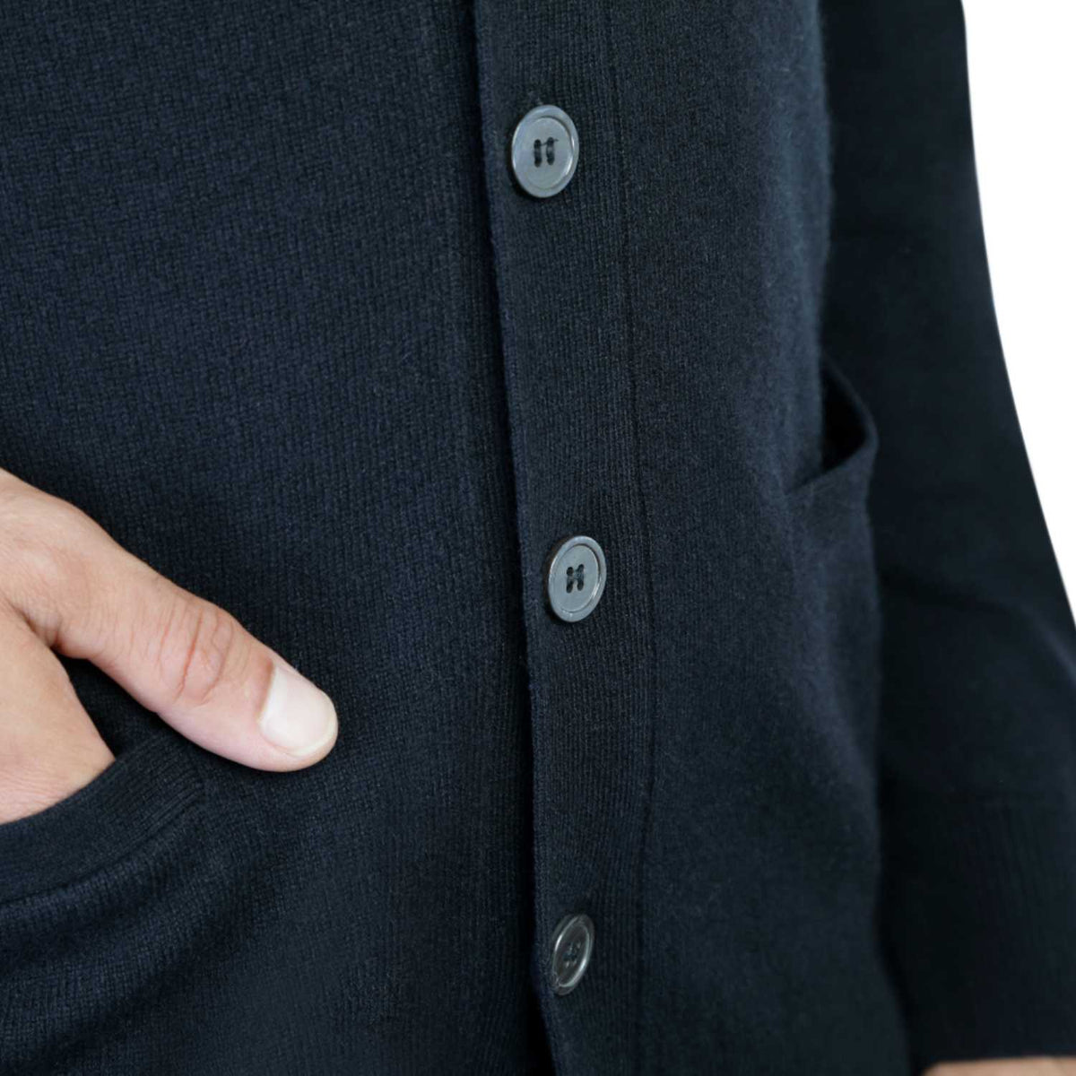 Mens Black Cashmere Cardigan | Close up | Shop at The Cashmere Choice | London
