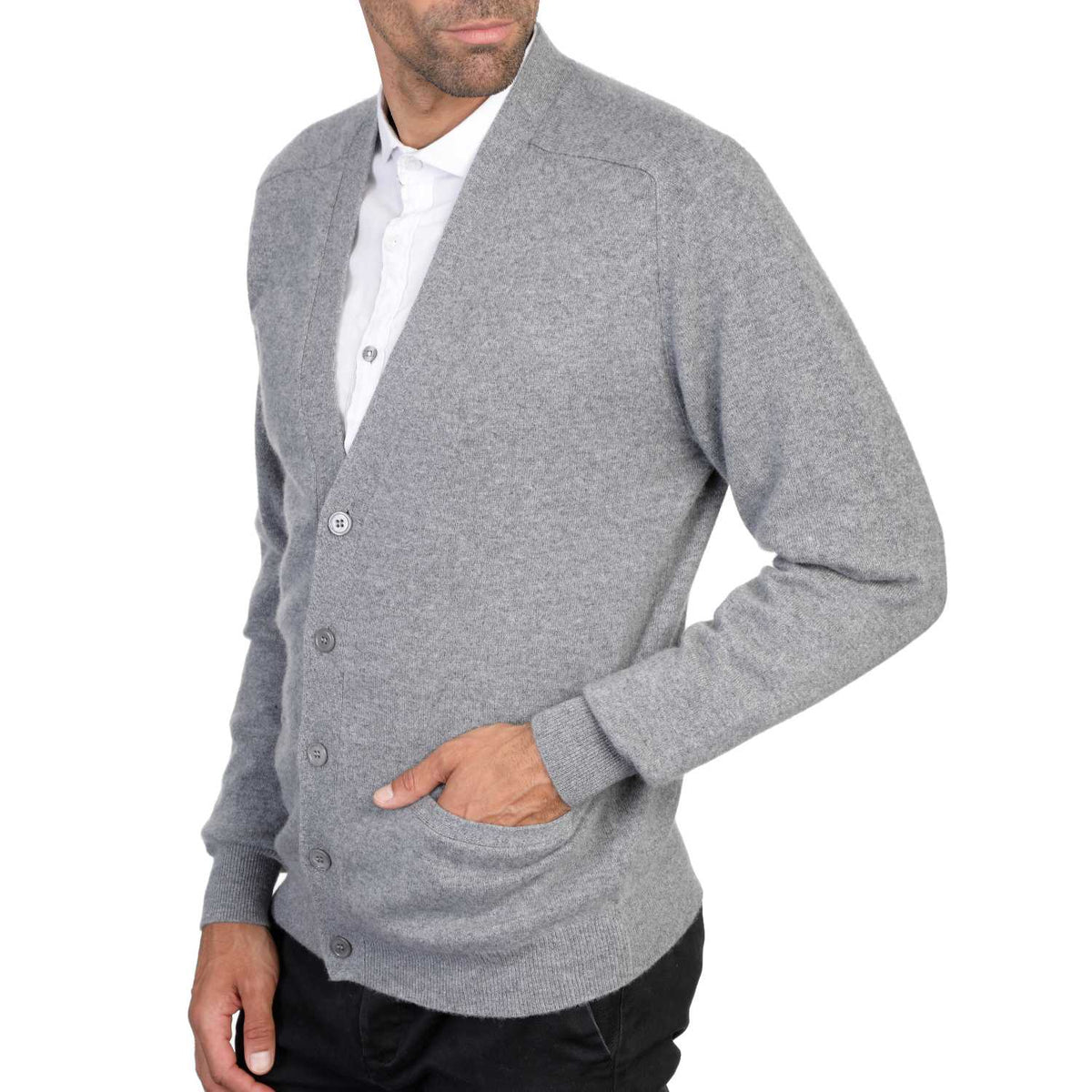 Mens Grey Cashmere Cardigan | Front | Shop at The Cashmere Choice | London