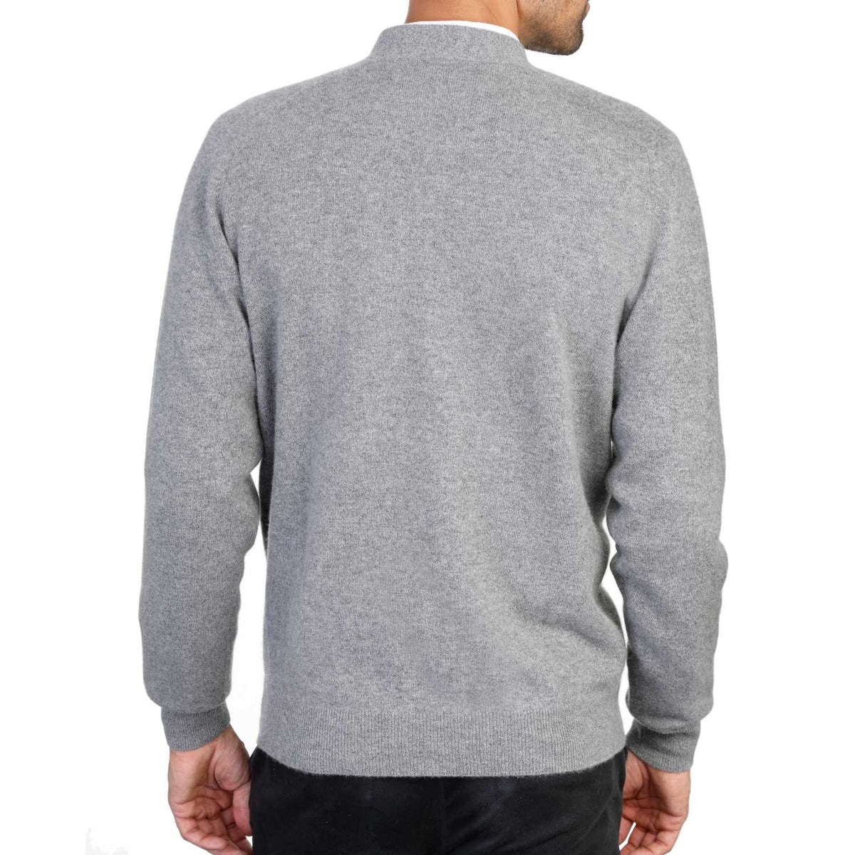 Mens Black Cashmere Cardigan | Grey | Shop at The Cashmere Choice | London