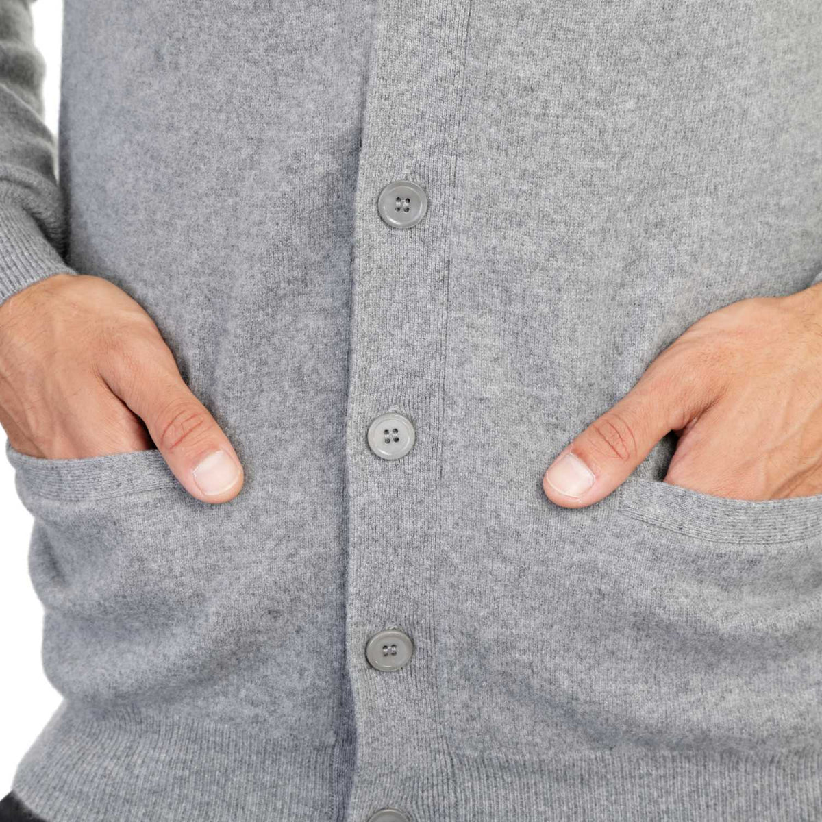 Mens Grey Cashmere Cardigan | Close up | Shop at The Cashmere Choice | London