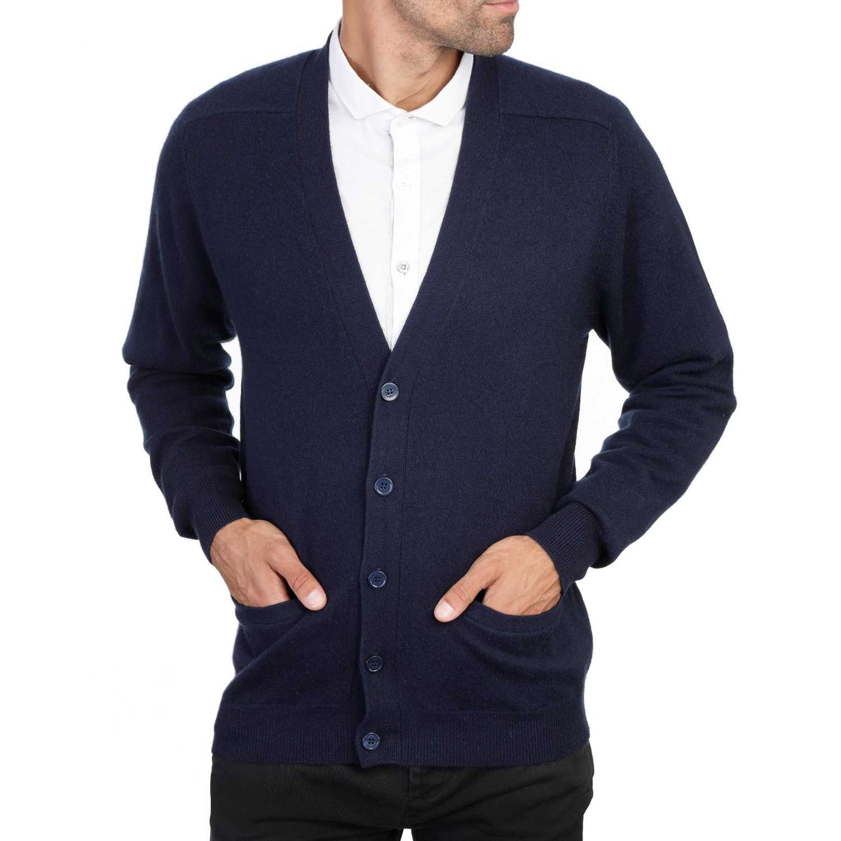 Mens Navy Blue Cashmere Cardigan | Front | Shop at The Cashmere Choice | London