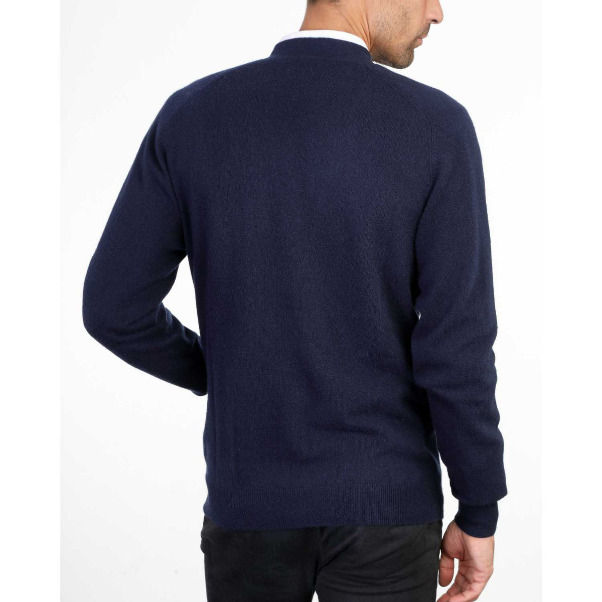Mens Navy Blue Cashmere Cardigan | Back | Shop at The Cashmere Choice | London