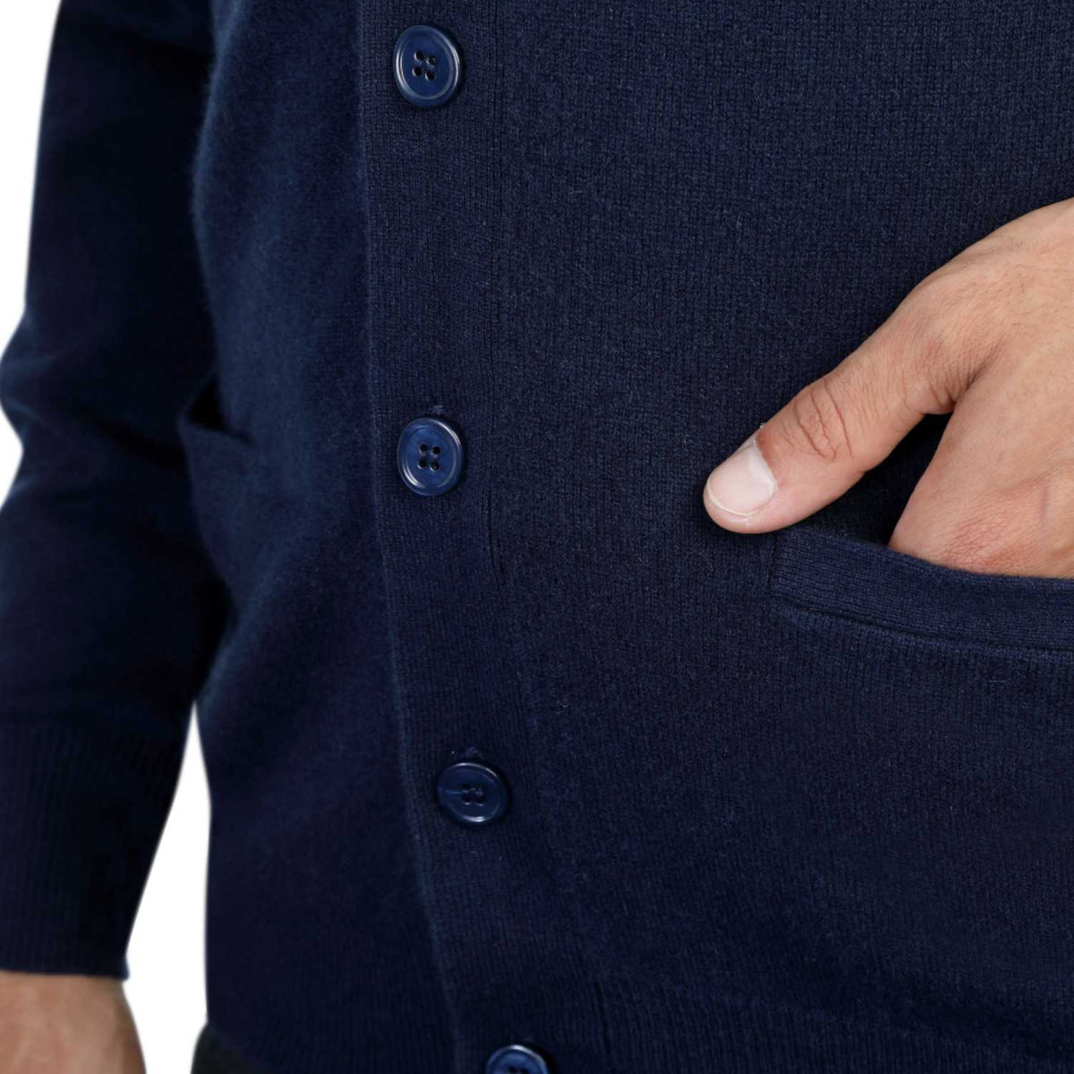 Mens Navy Blue Cashmere Cardigan | Close up | Shop at The Cashmere Choice | London