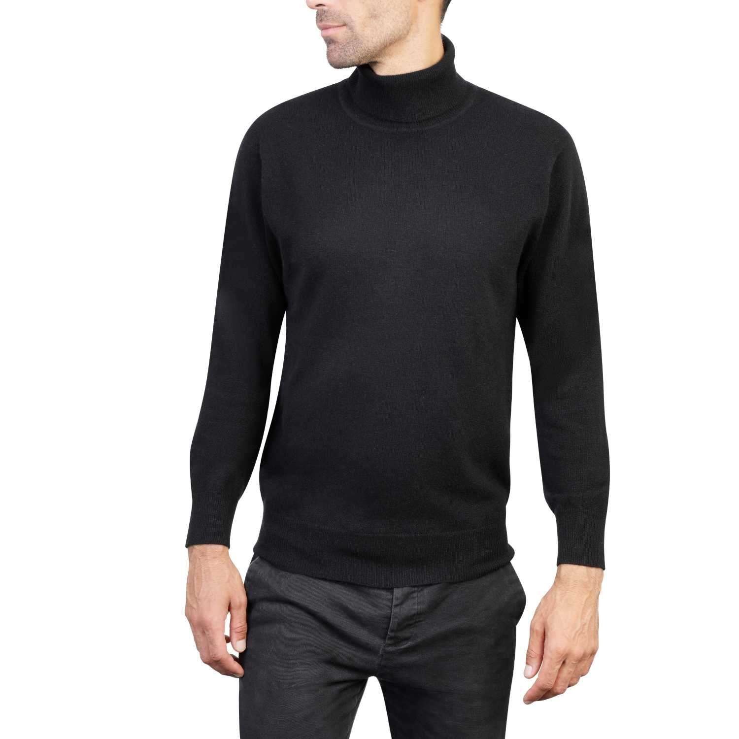 Mens Black Cashmere Polo Neck Sweater | Front | Shop at The Cashmere Choice | London