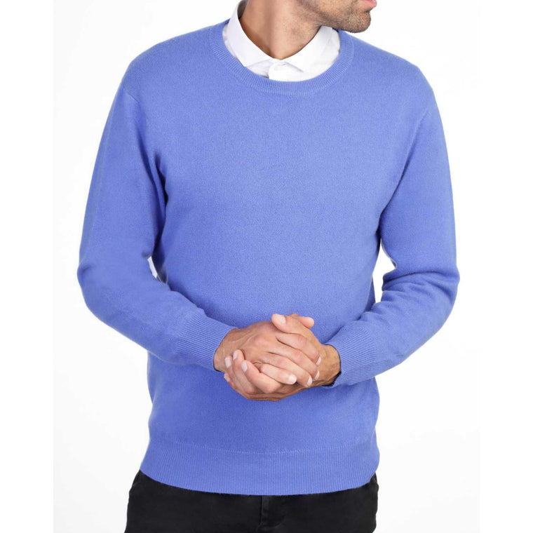 Mens Cornflower Blue Cashmere Round Neck Sweater | Front | Shop at The Cashmere Choice | London