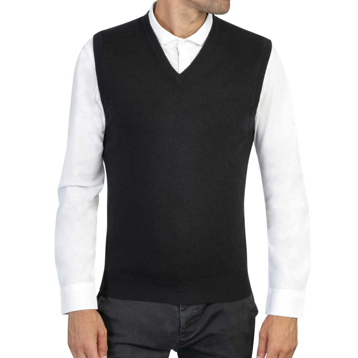 Mens Black Cashmere Sleeveless Vest Sweater | Front | Shop at The Cashmere Choice | London