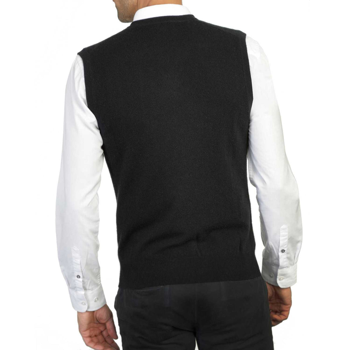 Mens Black Cashmere Sleeveless Vest Sweater | Back | Shop at The Cashmere Choice | London