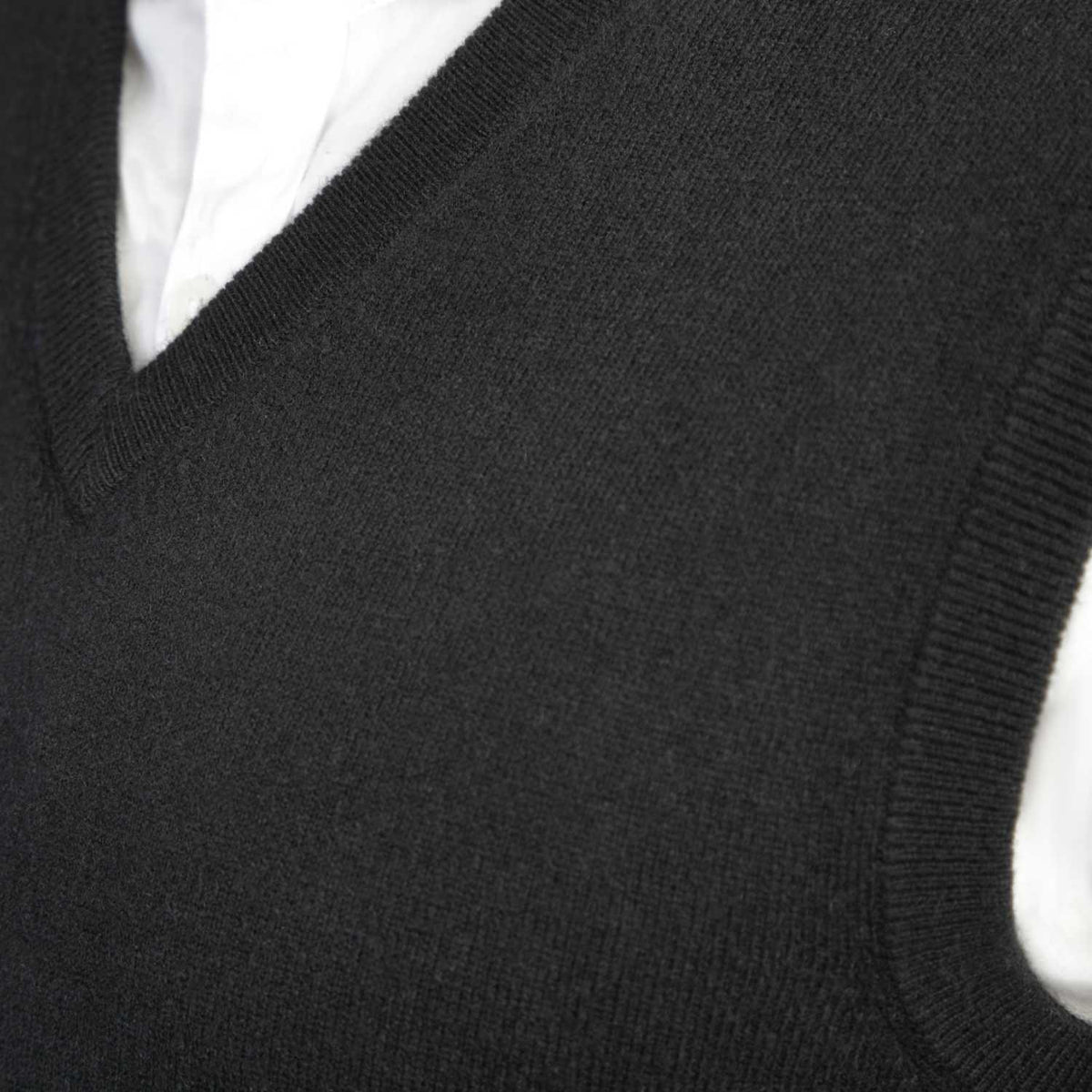 Mens Black Cashmere Sleeveless Vest Sweater | Close up | Shop at The Cashmere Choice | London