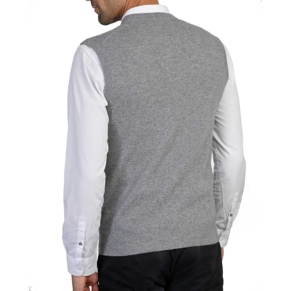 Mens Grey Cashmere Sleeveless Vest Sweater | Back | Shop at The Cashmere Choice | London
