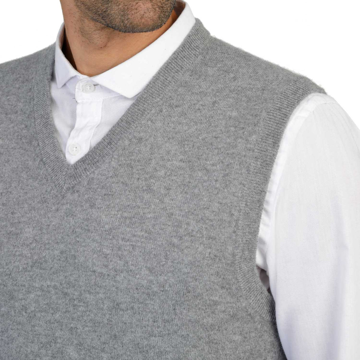 Mens Grey Cashmere Sleeveless Vest Sweater | Close up | Shop at The Cashmere Choice | London
